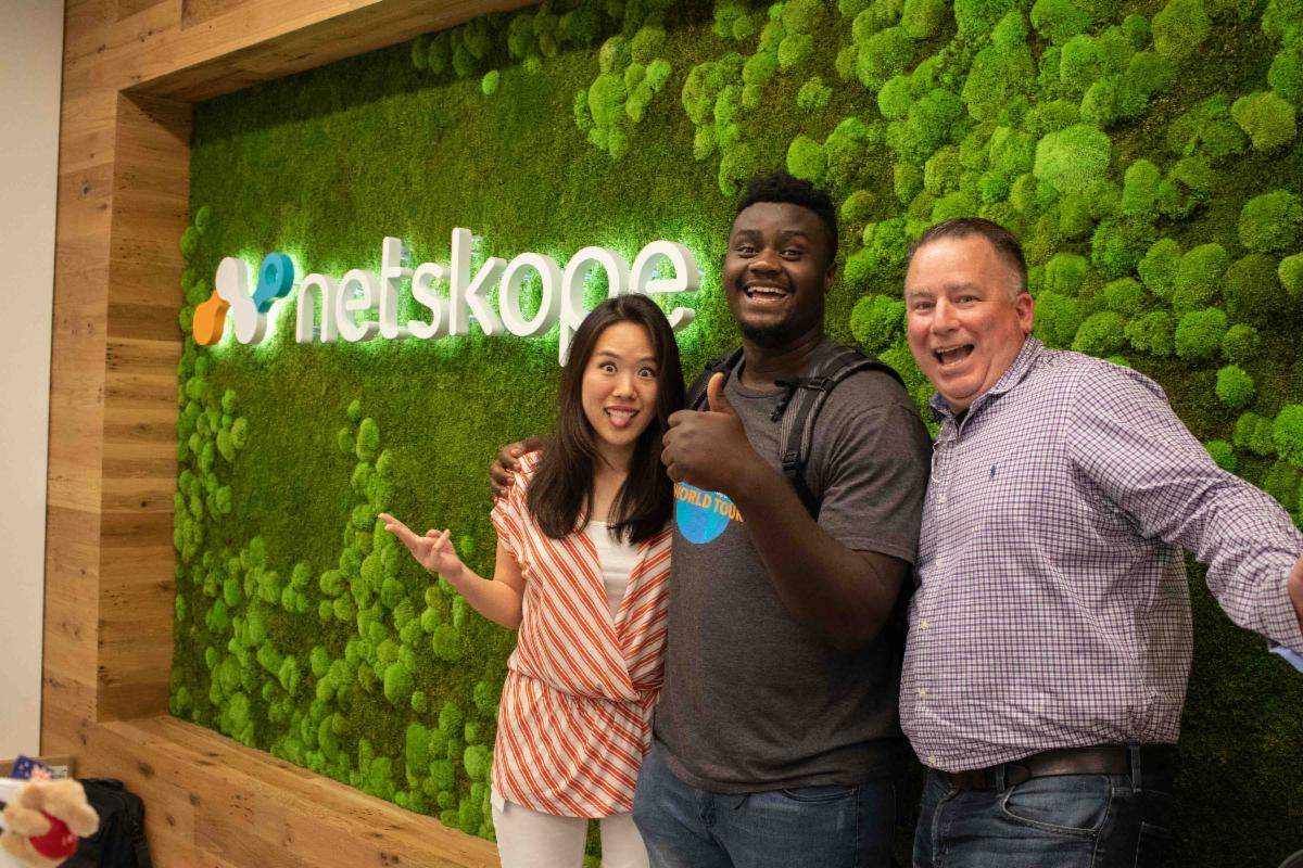 John Ngonzo, a Pivotal internship program participant, poses with his Summer 2019 Netskope internship supervisors.